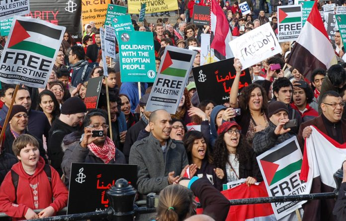 Demonstration of solidarity with the Palestinian people and the Egyptian Revolution in Trafalgar Square