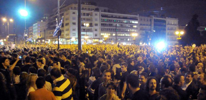 The Friday night occupation of the Vouli (parliament) square in Athens