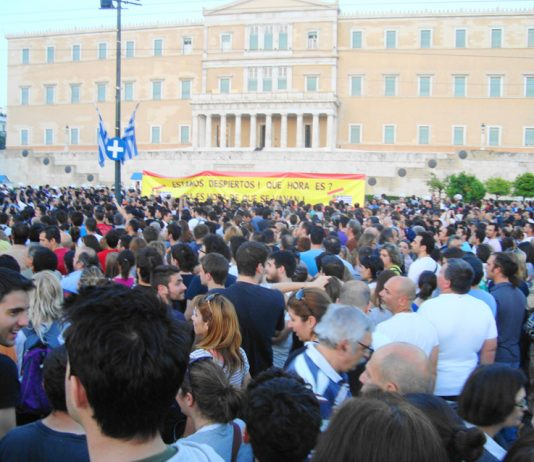The Popular Assembly in session on Sunday night in the Vouli (parliament) square in Athens