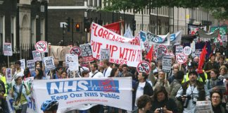 The front of last month's 5,000-strong march from University College Hospital to Downing Street to demand the scrapping of the Tory coalition's Health and Social Care Bill and no cuts to the NHS