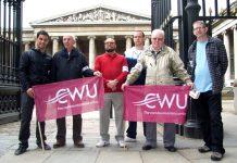Romec CWU members outside the British Museum yesterday