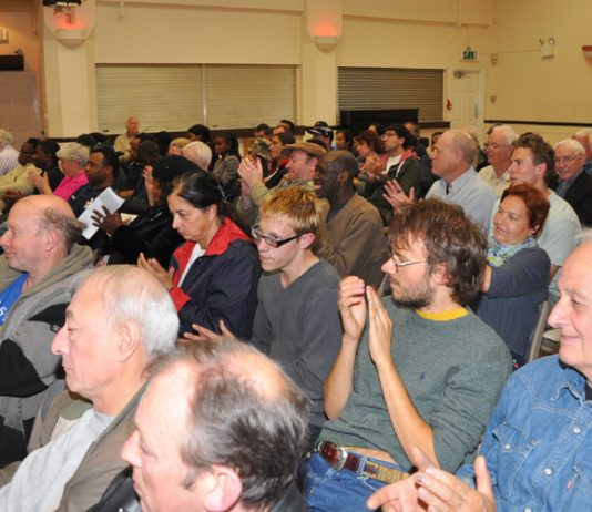 A section of the audience applauding at yesterday's News Line-ATUA Conference in central London
