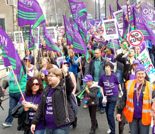 Thousands of Unison members took part in the TUC March 26 demonstration to show that they were determined to stop the privatisation of the NHS