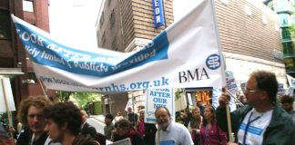 The BMA banner on the march to scrap the Health Bill, from London's UCH hospital to the Department of Health in May this year