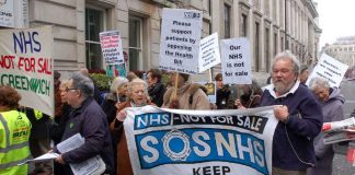 Patients and doctors lobbying the Special Representative Meeting of the BMA in March against the Health and Social Care Bill