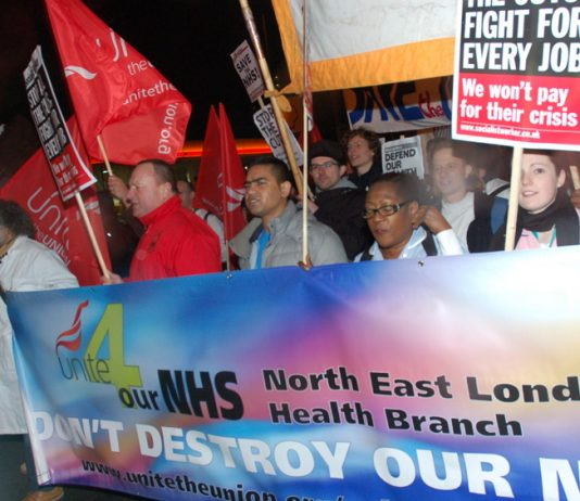 Medical staff and other hospital workers marching from Royal London Hospital to Bart's Hospital in March to defend the NHS