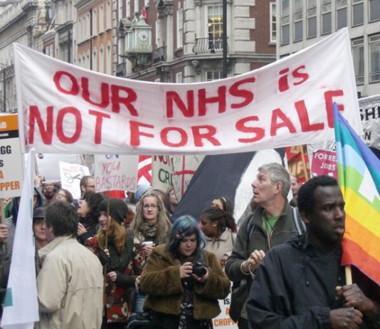 'The NHS is not for sale' – trade unionists with a clear message in London on March 26 this year. They will march again today against the Health Bill