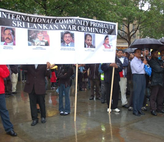 Tamils demonstrated in May in Trafalgar Square demanding an investigation into war crimes by the Sri Lankan government