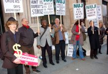 The National Union of Journalists staged a protest against the takeover of BSkyB in March this year