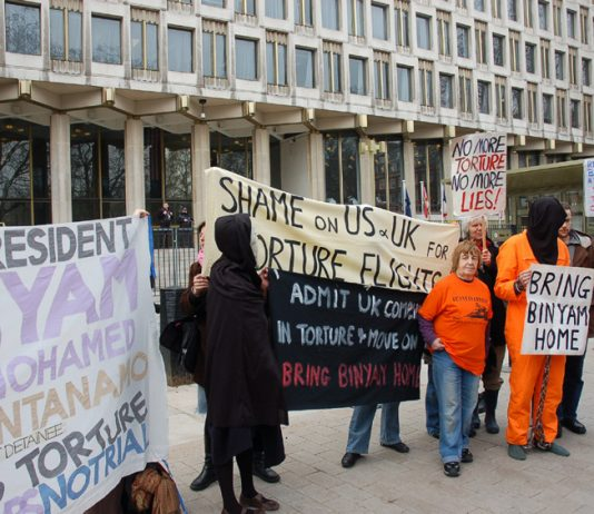 Demonstration in London in February 2009 demanding the release of Binyam Mohamed from Guantanamo prison where he was incarcerated after his rendition and torture