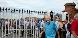 British Airways pensioners leaving their meeting at Ascot Racecourse on Monday afternoon