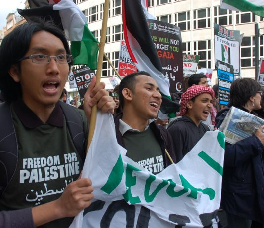 Youth march in support of a Palestinian state in London