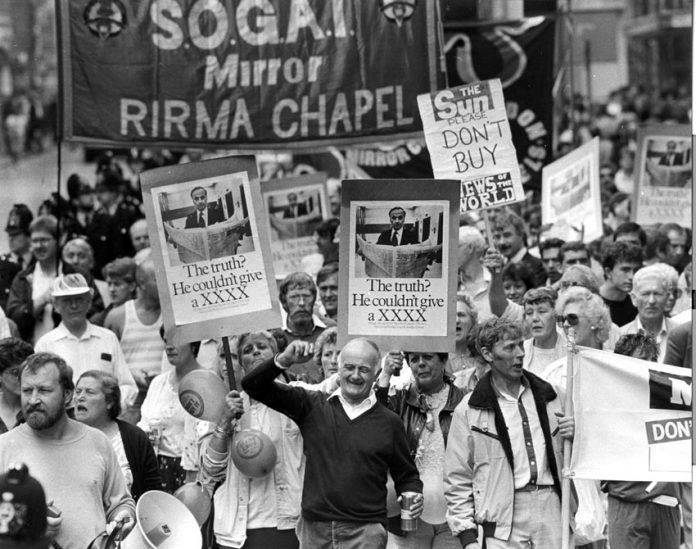 Sacked printers march against Murdoch during their year-long battle to defend jobs and union rights in 1986-87