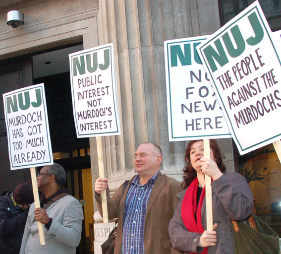 National Union of Journalists protest in March against Murdoch domination of the media