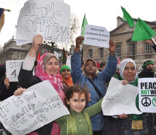 Libyan women take part in the TUC's national march earlier this year
