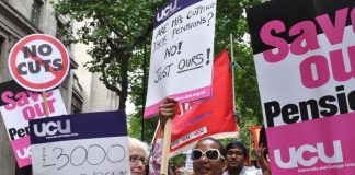 Members of the University and College Union take to the streets in defence of their pensions during the June 30 strike action