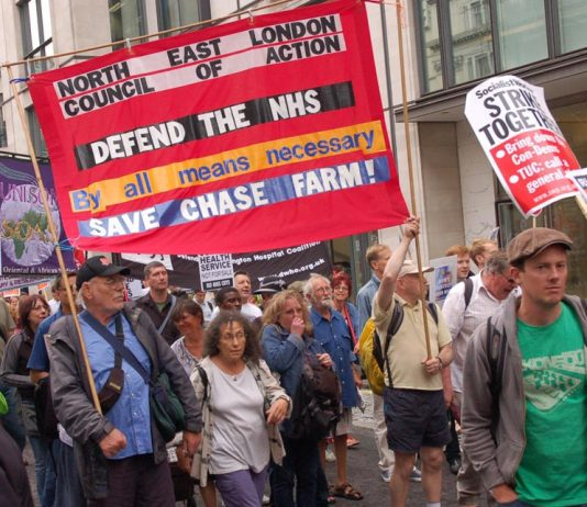 The banner of the North-East London Council of Action on the July 5 march to parliament on the 63rd anniversary of the NHS