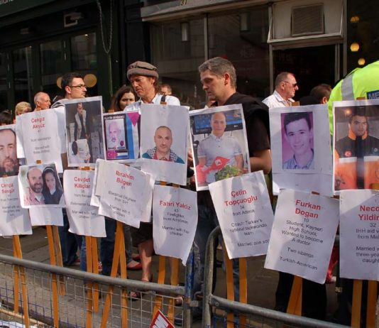 On a demonstration in London, protesters display the names of the victims killed in the attack by Israeli soldiers on the peace flotilla last year