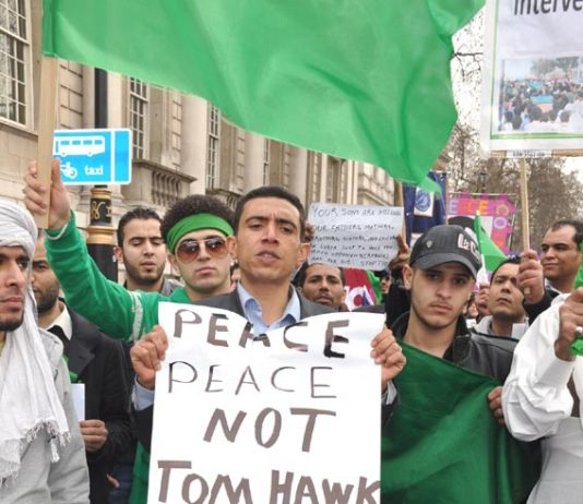 Libyan students joined the TUC anti-cuts march in London on March 26, appealing for 'peace not Tomahawk' missiles from the NATO governments