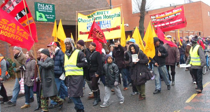 The Chase Farm Hospital Maternity banner on last December's march through Enfield by the North-East London Council of Action against closure