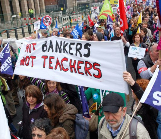 Teachers marching to defend their pensions show that they understand just who the enemy is
