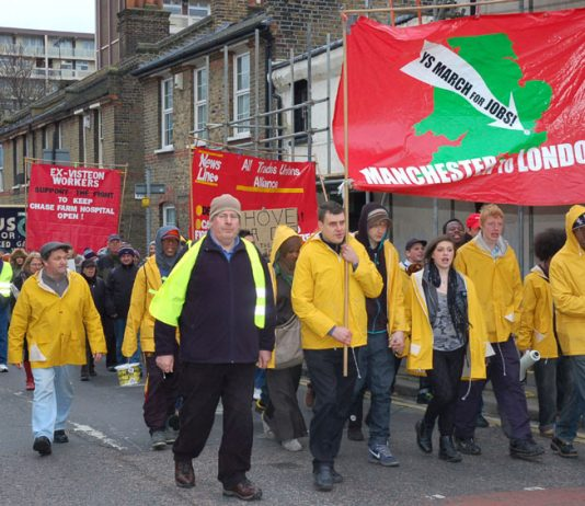 The YS March for Jobs and Free State Education arriving in London in November last year