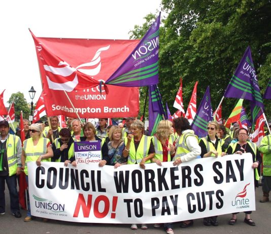 Southampton council workers demonstrating their determination to defeat the attempts to slash their wages