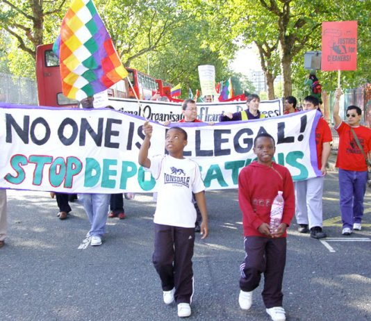 Asylum seekers and their families marching against deportations