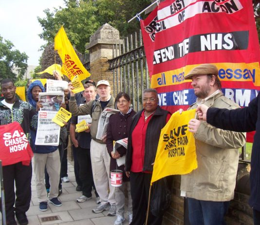 Lively  picket of Chase Farm Hospital last Tuesday calling for occupation to stop the closure of the hospital