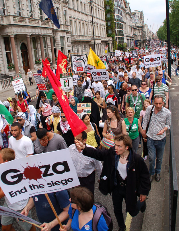 A section of the march in London on June 5th 2009 condemning the Israeli attack on the Gaza Freedom Flotilla