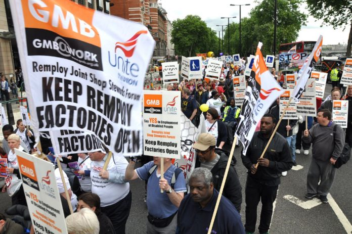 Remploy workers taking part in the national demonstration against cuts in disabled people's benefits in May this year