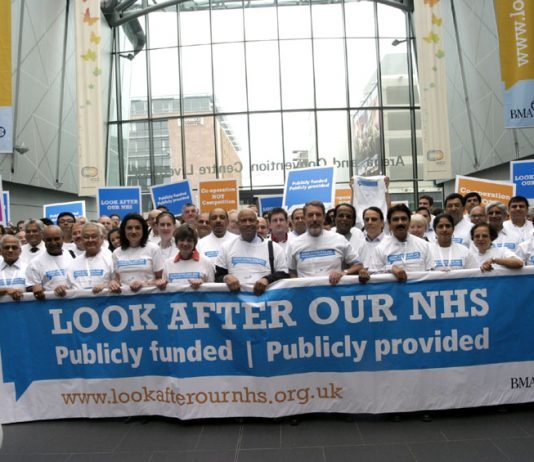 Doctors demonstrating for the National Health Service at an annual meeting of the British Medical Association
