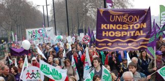 Kingston Hospital Unison banner on the 500,000-strong TUC demonstration on March 26 against the coalition government's cuts