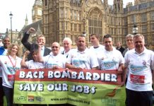 'Back Bombardier – Save Our Jobs' was the message from the trade unions outside parliament yesterday