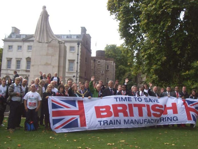 The union leaders sought to use the lobby of parliament to appeal to the Tories and Liberal Democrats – ASLEF members were told to take down their union banner as it was out of place with this theme