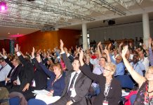 TUC Congress delegates voting for co-ordinated strike action to defend jobs and pensions on Monday