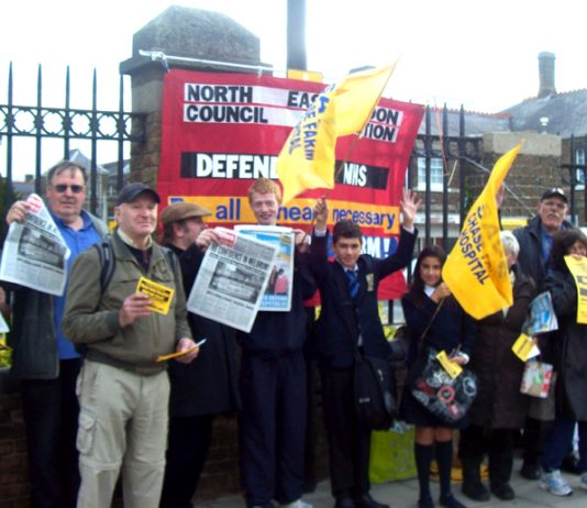 Part of yesterday's latest monthly picket to stop the closure of Chase Farm