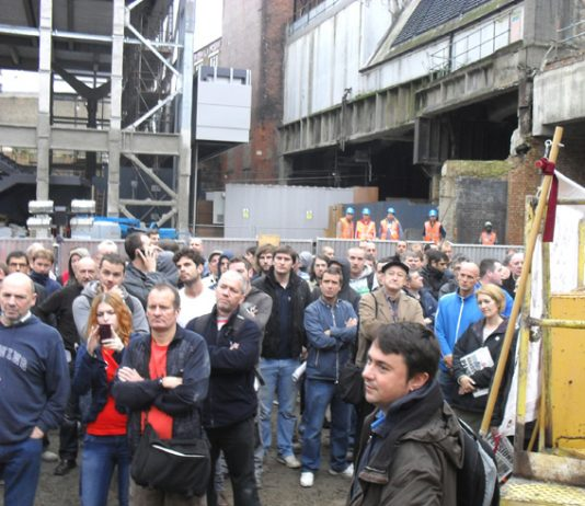 Construction workers demonstrating on the Crossrail site at Farringdon yesterday against plans to tear up their industry agreements