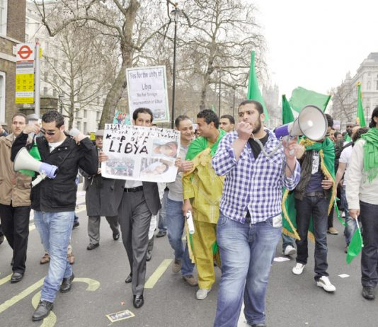 Libyan students marching on the TUC demonstration on March 26