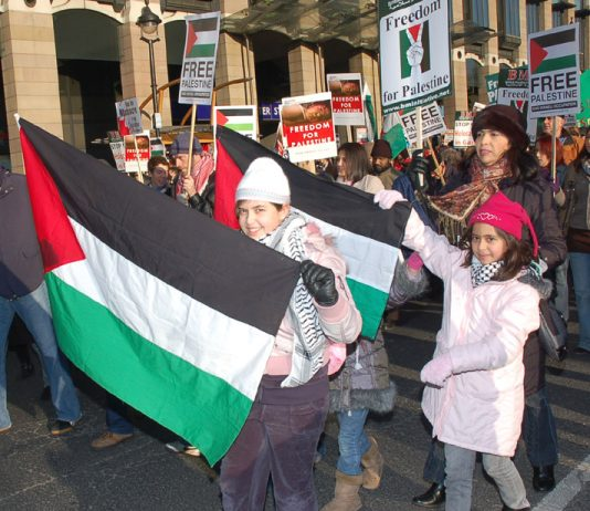 Part of a mass demonstration in London for a Palestinian state – the UK is supporting a US veto of Palestine at the United Nations