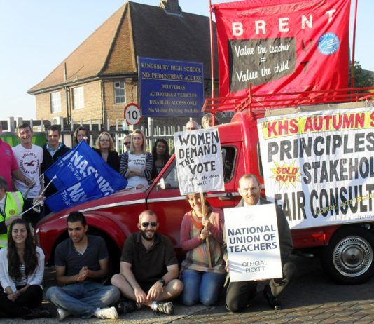 Striking teachers and their supporters fighting to stop Kingsbury school being turned into an Academy