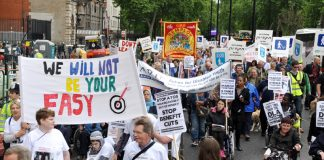 Young disabled march on May 11 against cuts in welfare benefits