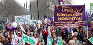Unison, Kingston hospital banner on the TUC demonstration on March 26 against coalition cuts