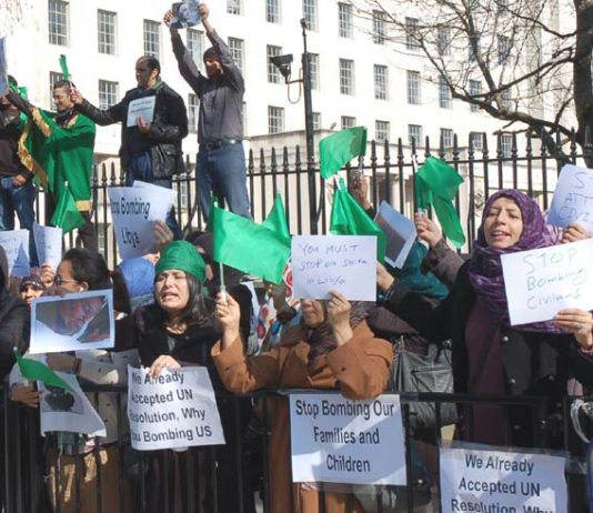 Libyan women in London condemn NATO attacks and give their support to Gadaffi