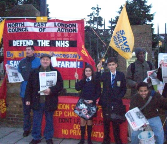 A section of yesterday's picket to keep open closure-threatened Chase Farm hospital in north London