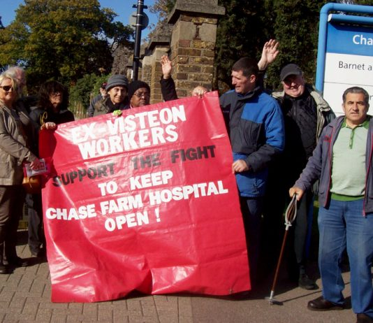 Ex-Visteon/Ford workers and their banner on the picket line last Tuesday
