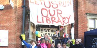 Save Kensal Rise Library campaigners were joined by local children outside the library yesterday morning