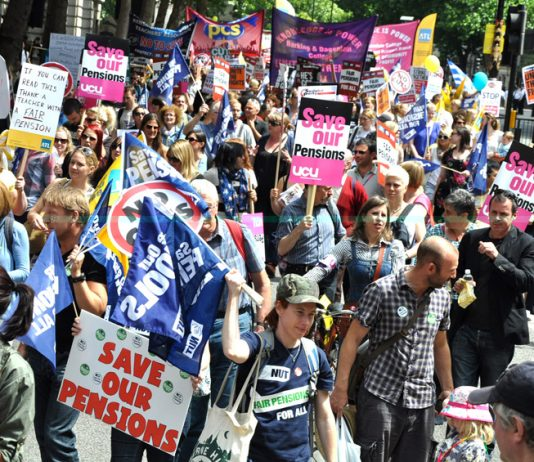 Striking civil servants, school teachers and college lecturers on the march to defend pensions in June this year