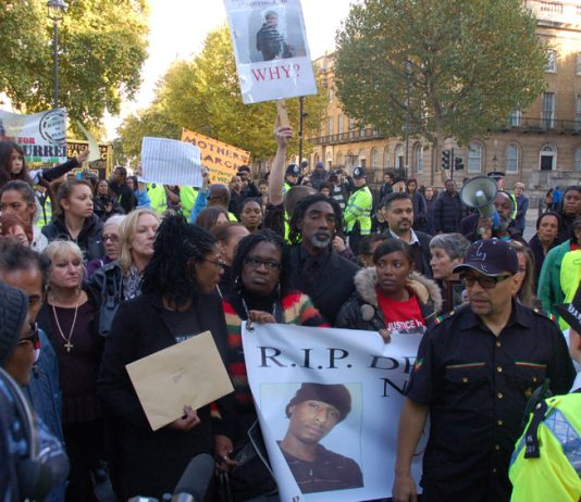 The procession arriving in Whitehall, demanding justice for loved ones who have died in custody
