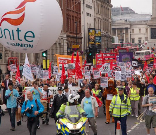 Unite leading a demonstration to mark the 63rd anniversary of the NHS in July this year